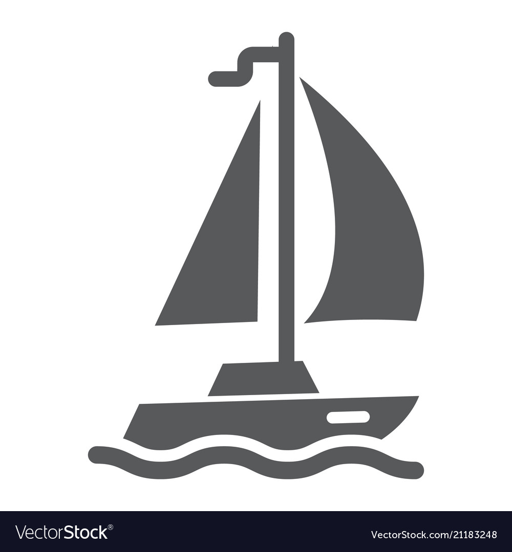 Sail yacht glyph icon travel and tourism