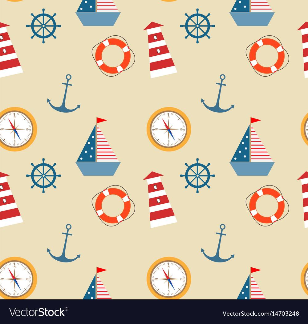 Seamless pattern of marine theme set