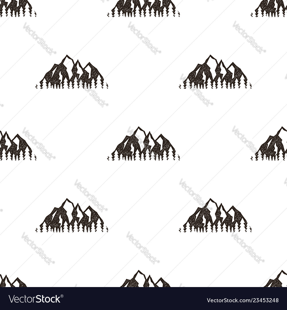 Seamless pattern with mountains in retro hipster