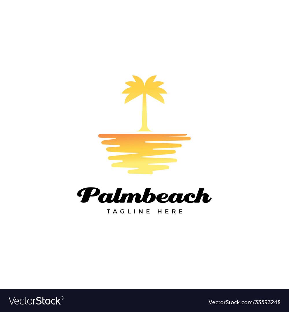 Sunset with palm tree logo design vec