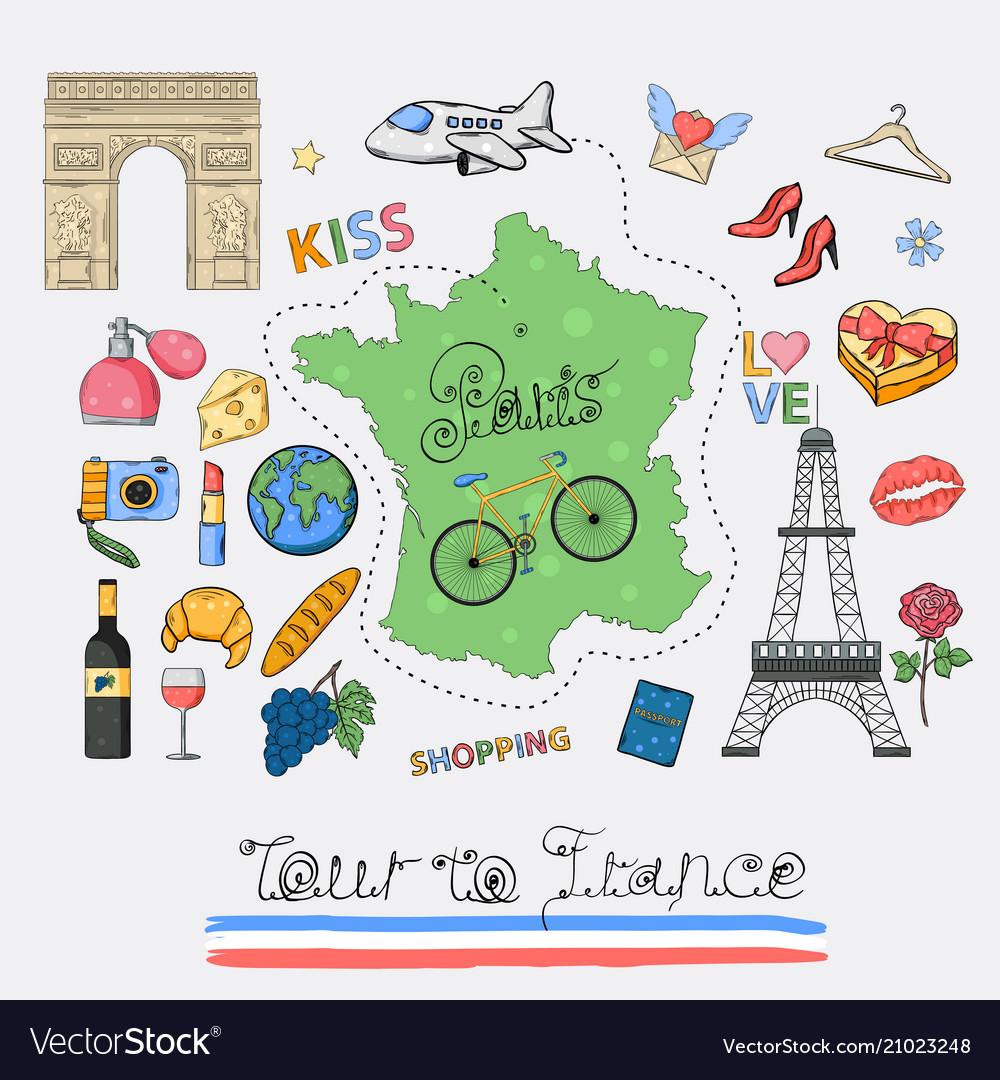 Tour to france icon set