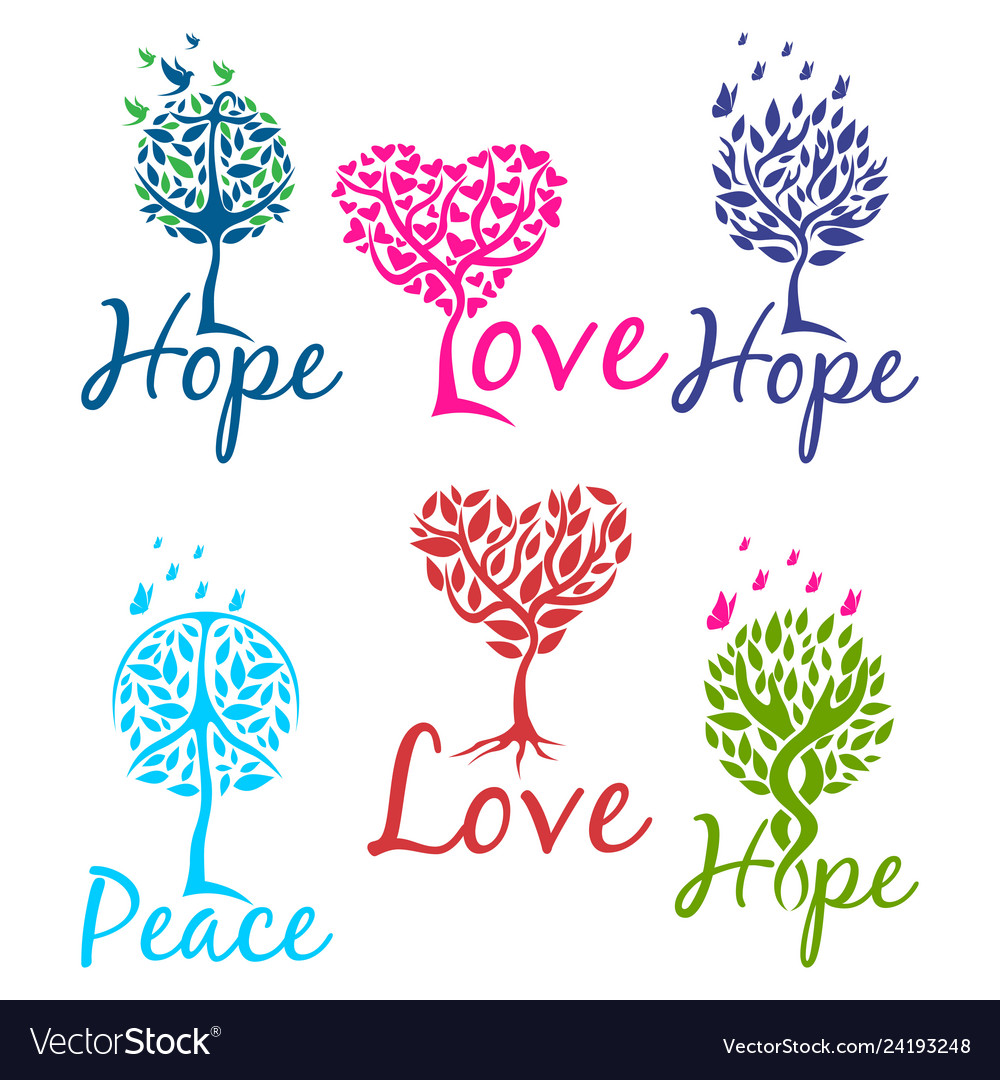 Tree of hope faith and love logo