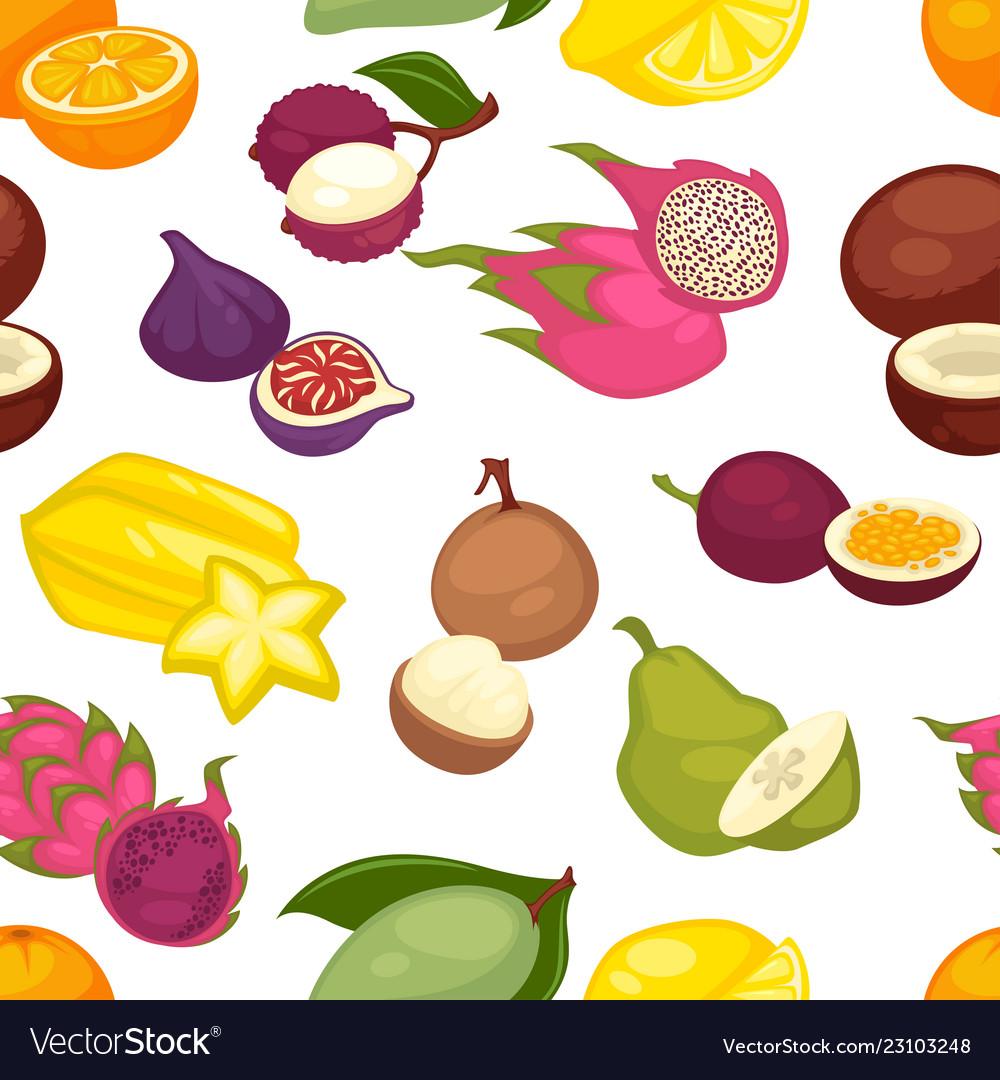 Tropical fruits set seamless pattern citrus lemon