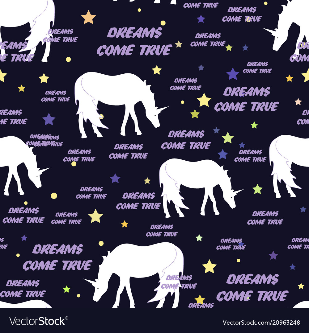 Unicorns seamless pattern with stars dreams come