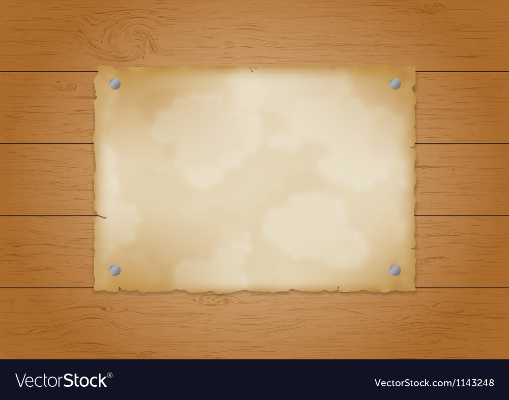 Wood plank background with old paper vector image