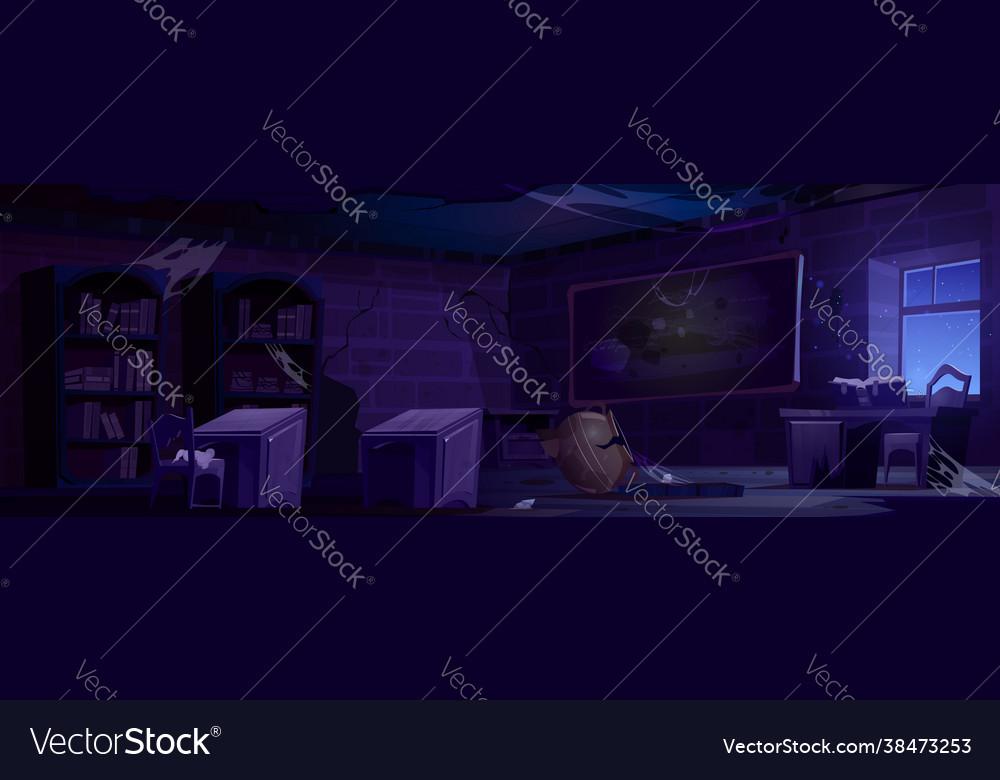 Abandoned magic school night classroom interior