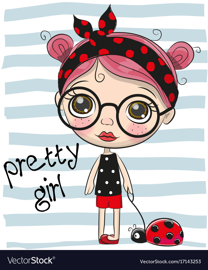 Cute cartoon girl with big glasses vector image
