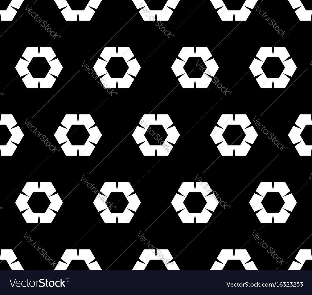 Floral seamless geometric pattern rippled hexagons vector image
