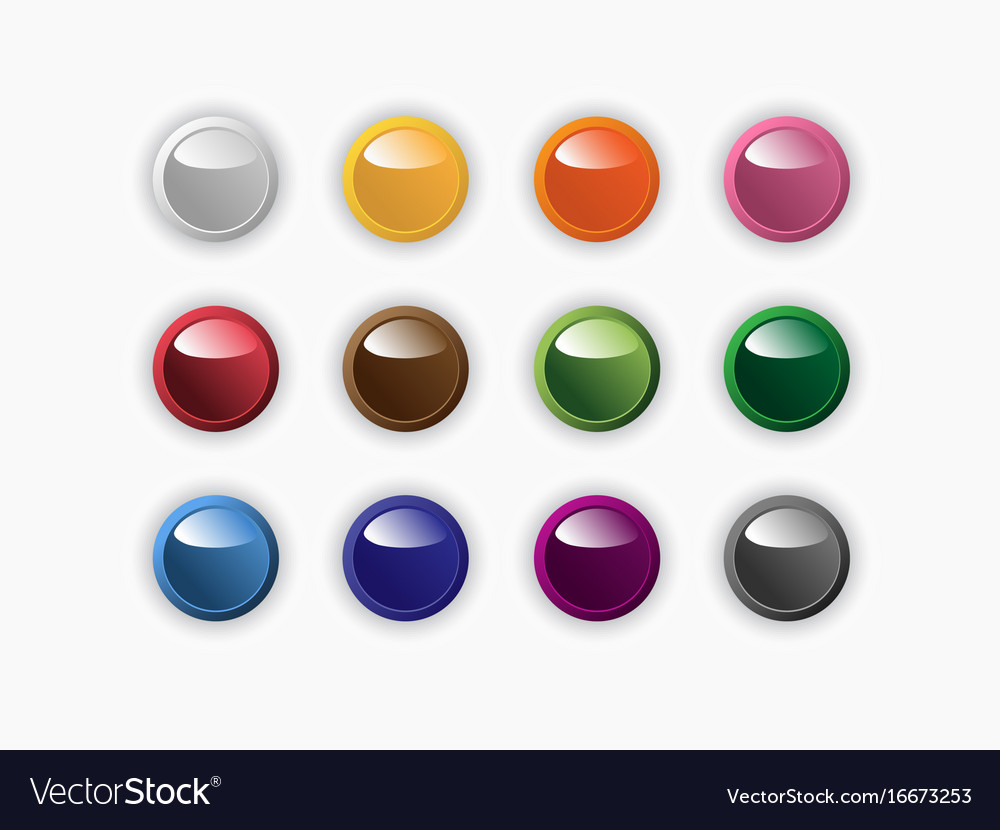 Group of round buttons of different colors