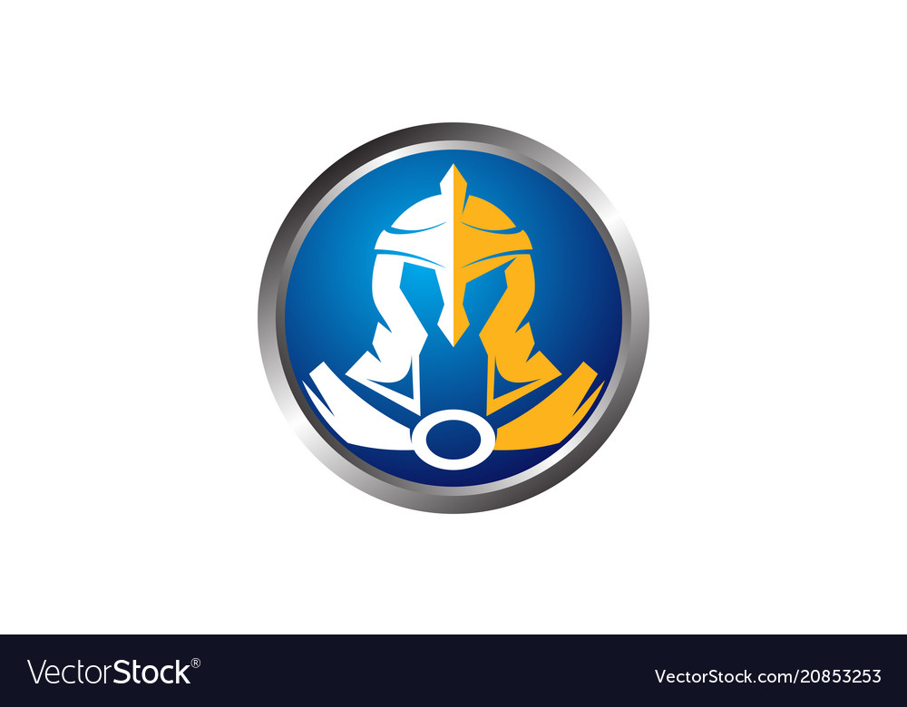 Helmet warrior logo design template