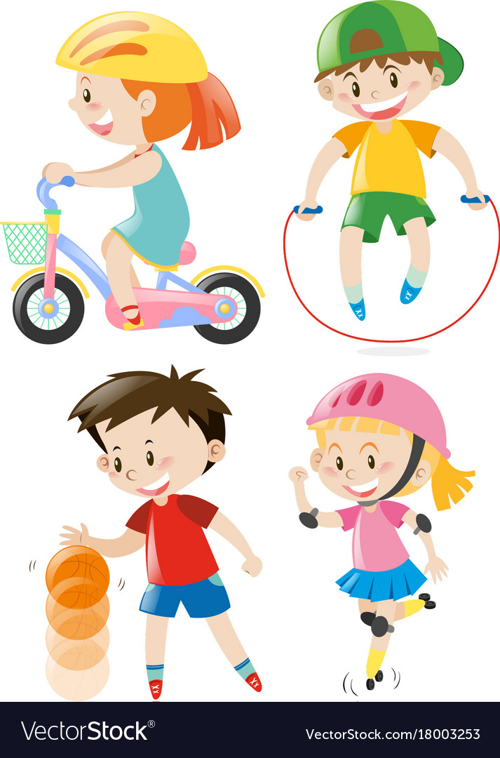 Kids doing different types of exercises Royalty Free Vector
