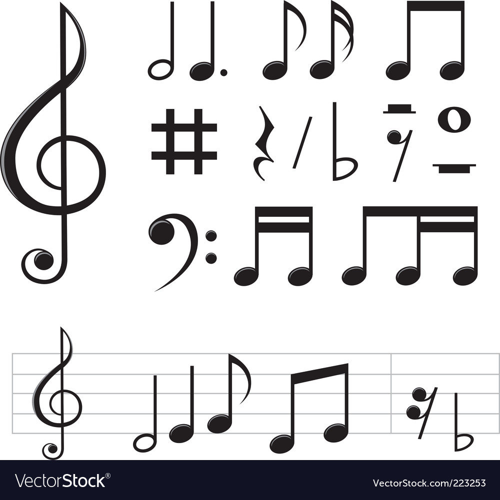 music notes royalty free vector image vectorstock rh vectorstock com music note vector free download music notes vector png