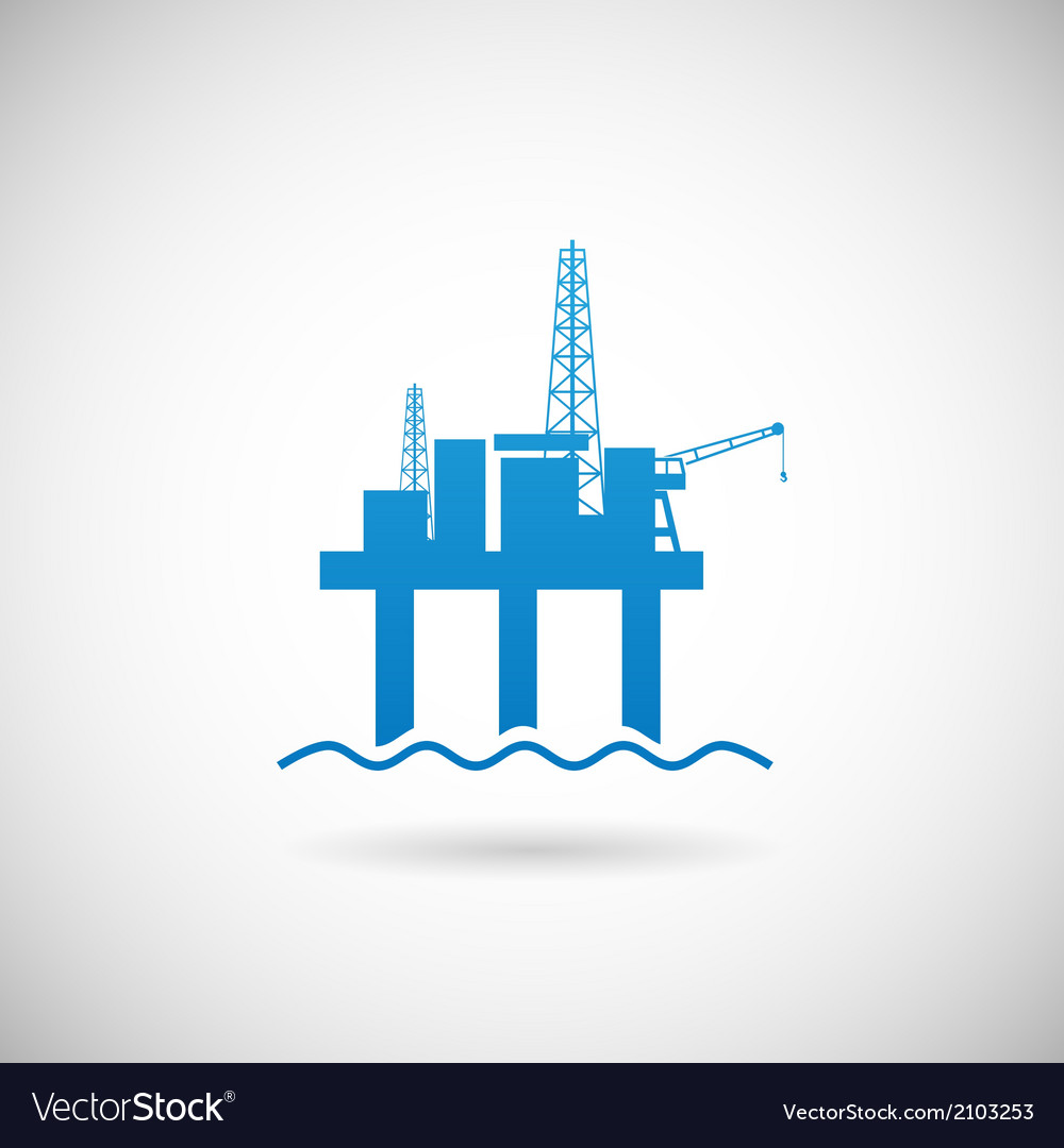 Oil Offshore Platform Colloquially Rig Symbol Icon vector image