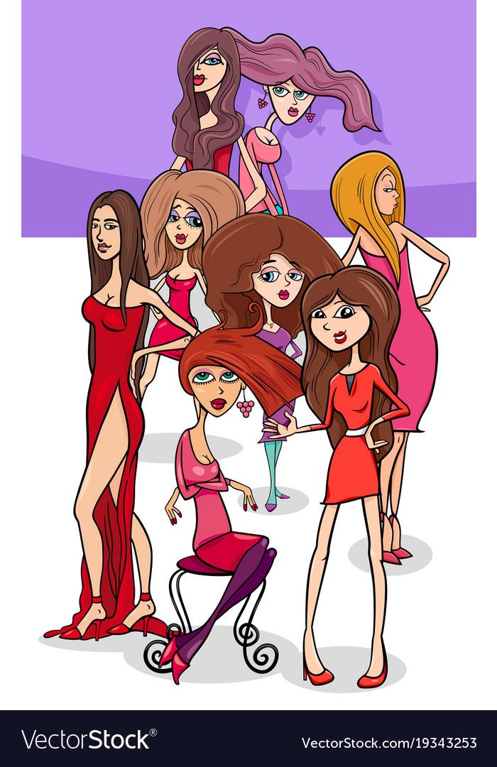Pretty women group cartoon