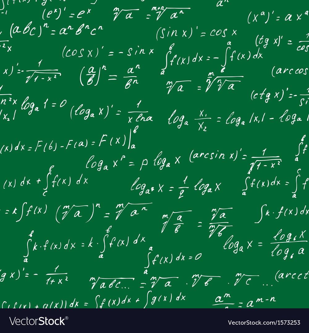 Seamless math elements on school board vector image