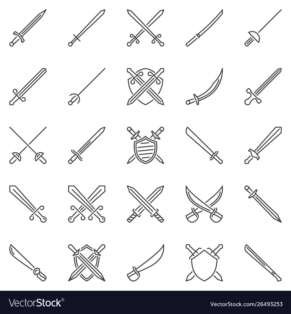 Sword outline concept icons set crossed swords