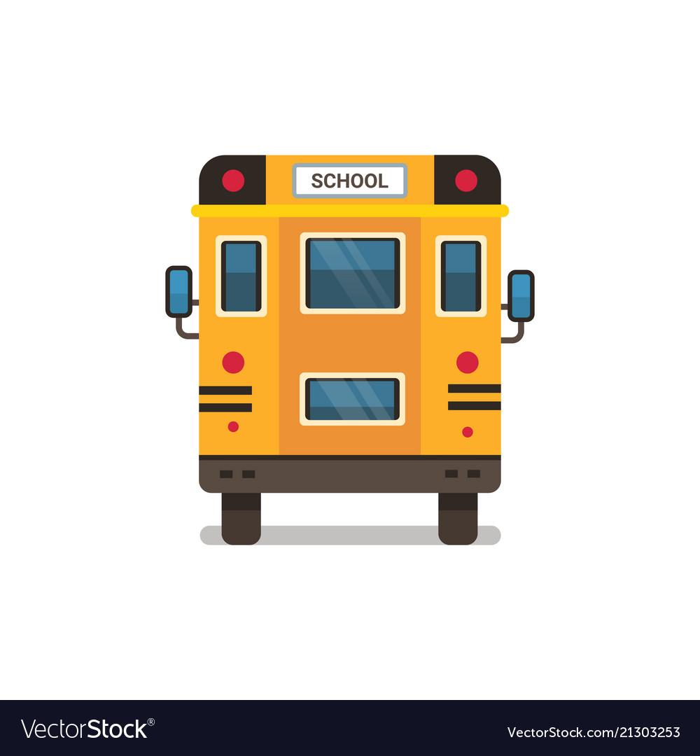 Yellow school bus rear view pupils transport