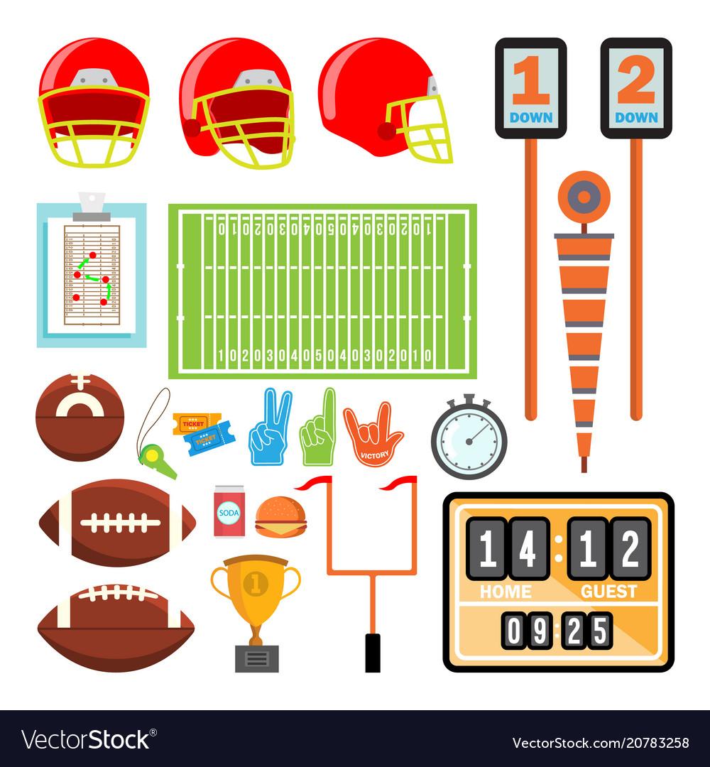 American football icons set american