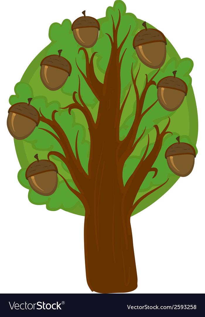 cartoon oak tree isolated royalty free vector image rh vectorstock com Oak Tree Wall Oak Tree Drawings