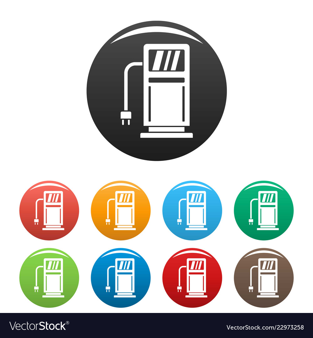 Electric recharge station icons set color
