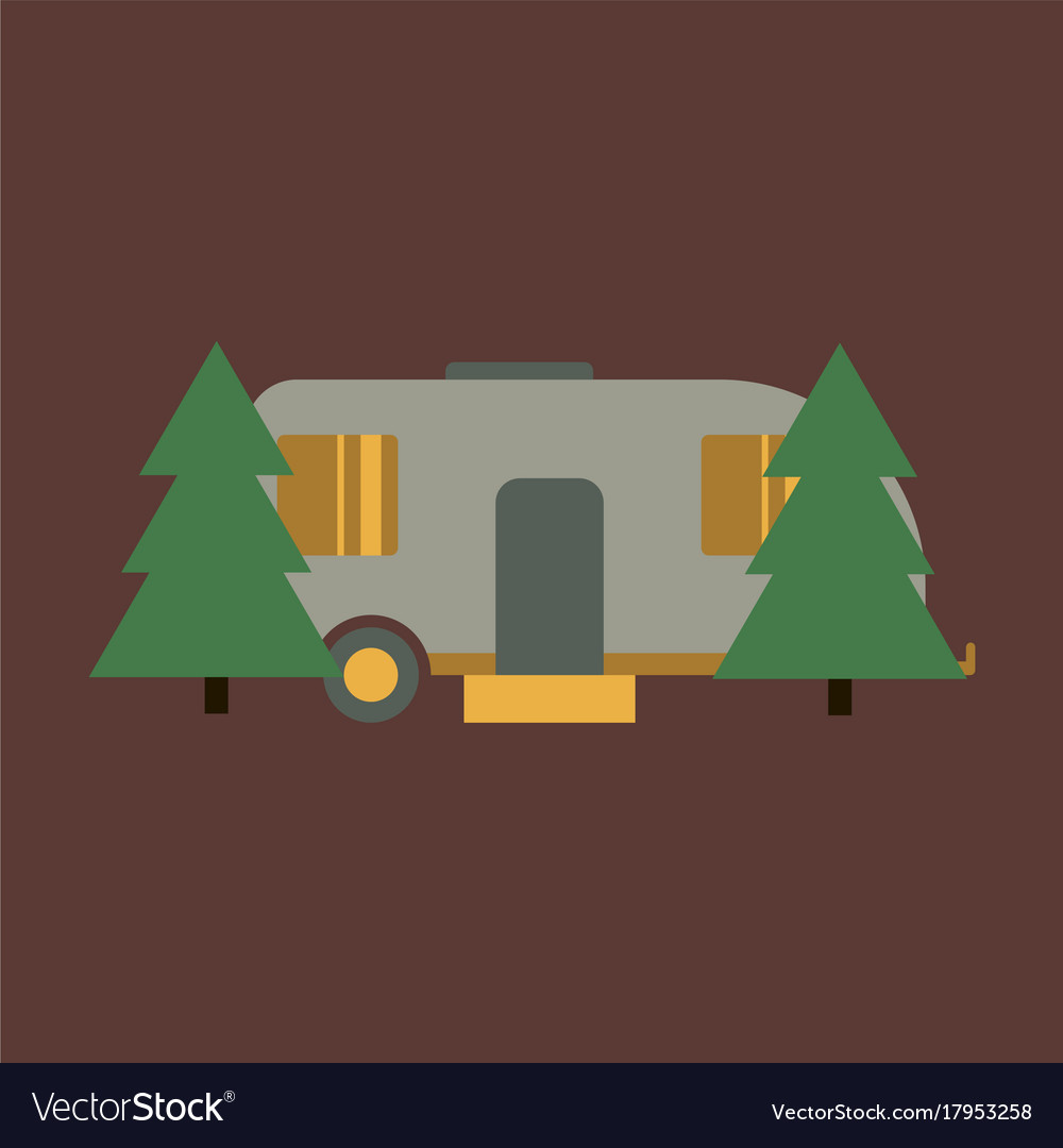 Flat icon trailer in forest