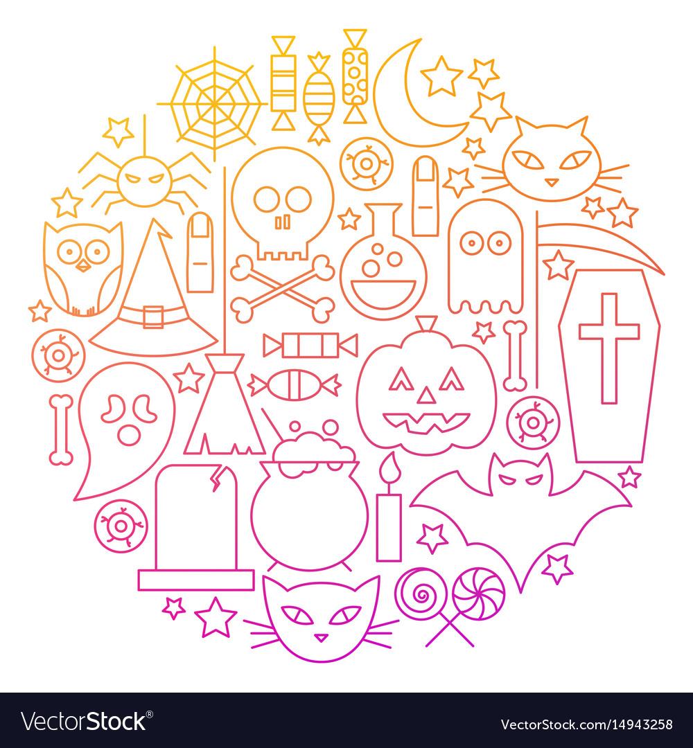 Halloween line icon circle design vector image