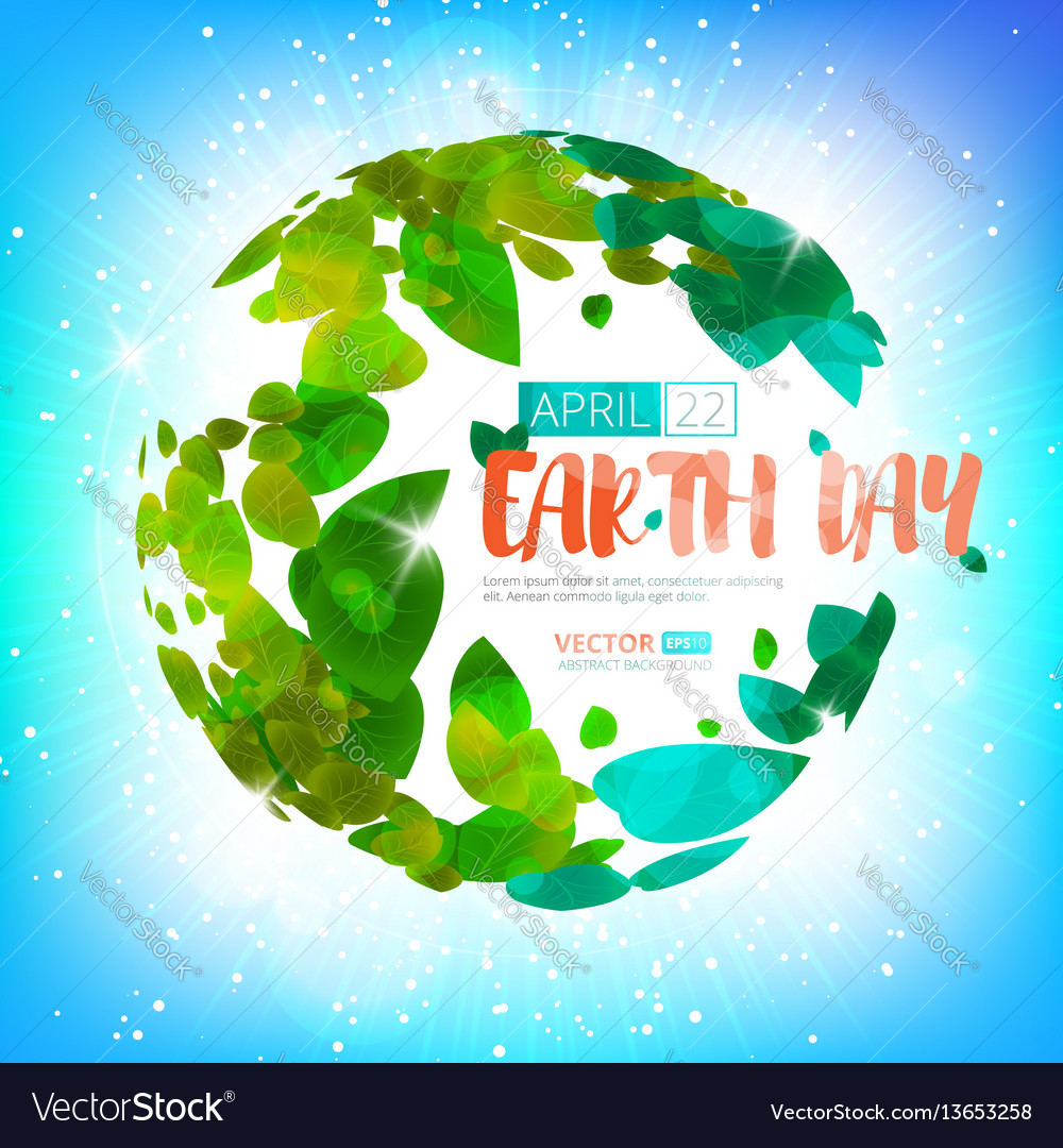 Happy earth day earth globe with green