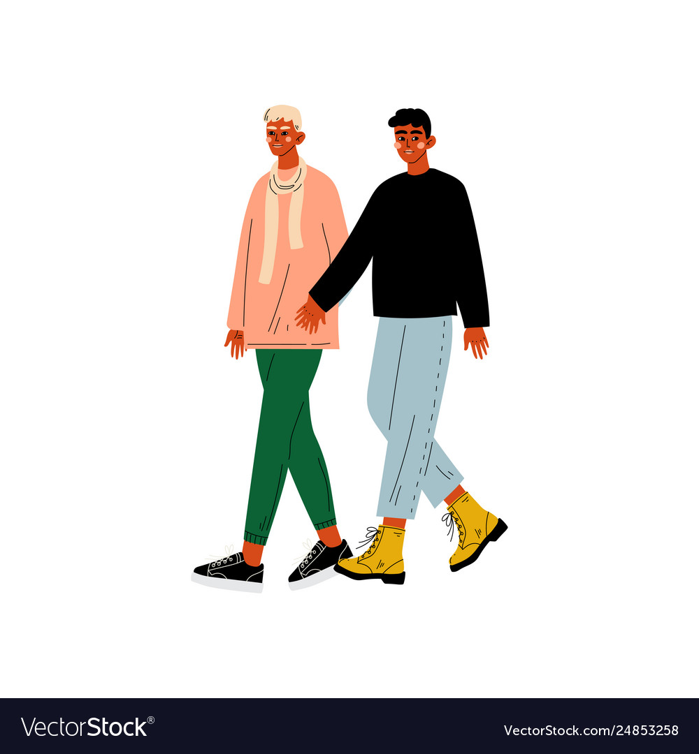 Happy gay male couple two men holding hands