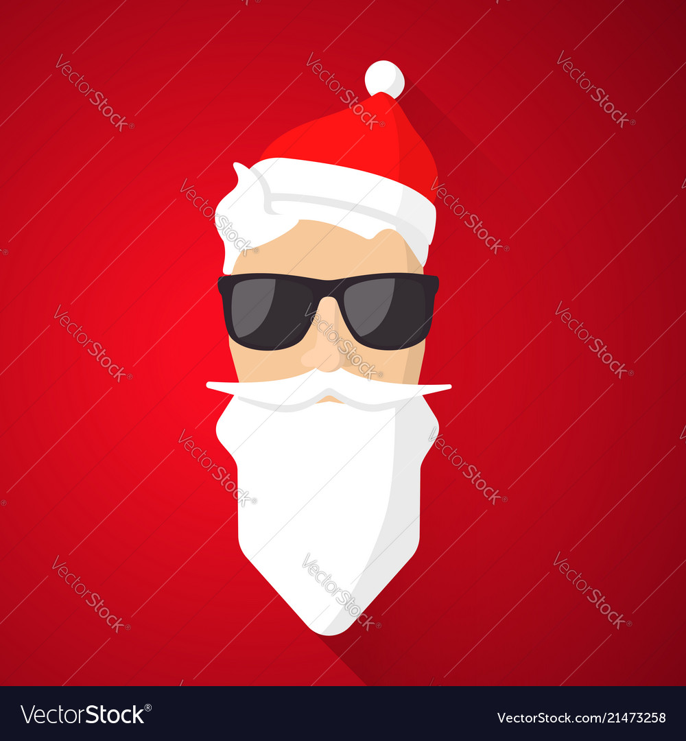 Hipster santa claus with cool beard and glasses