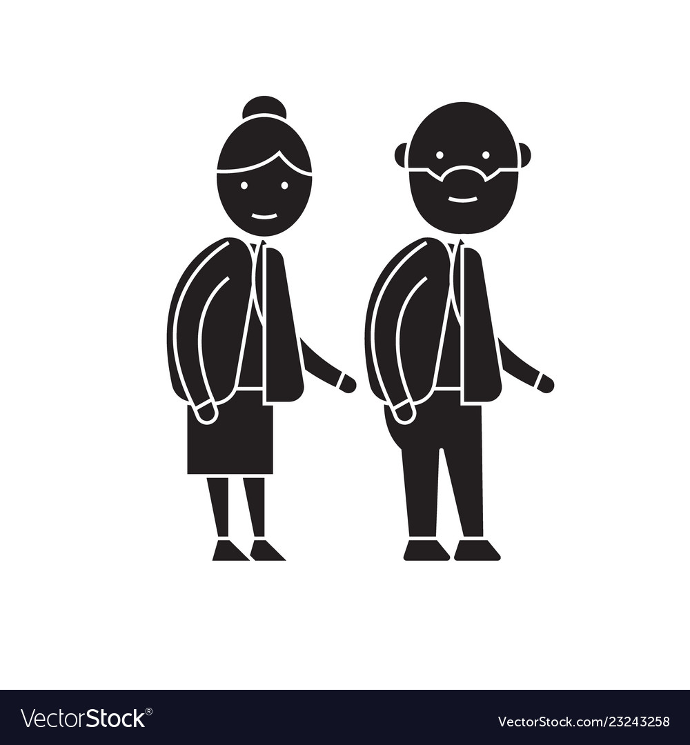 Old couple black concept icon old couple