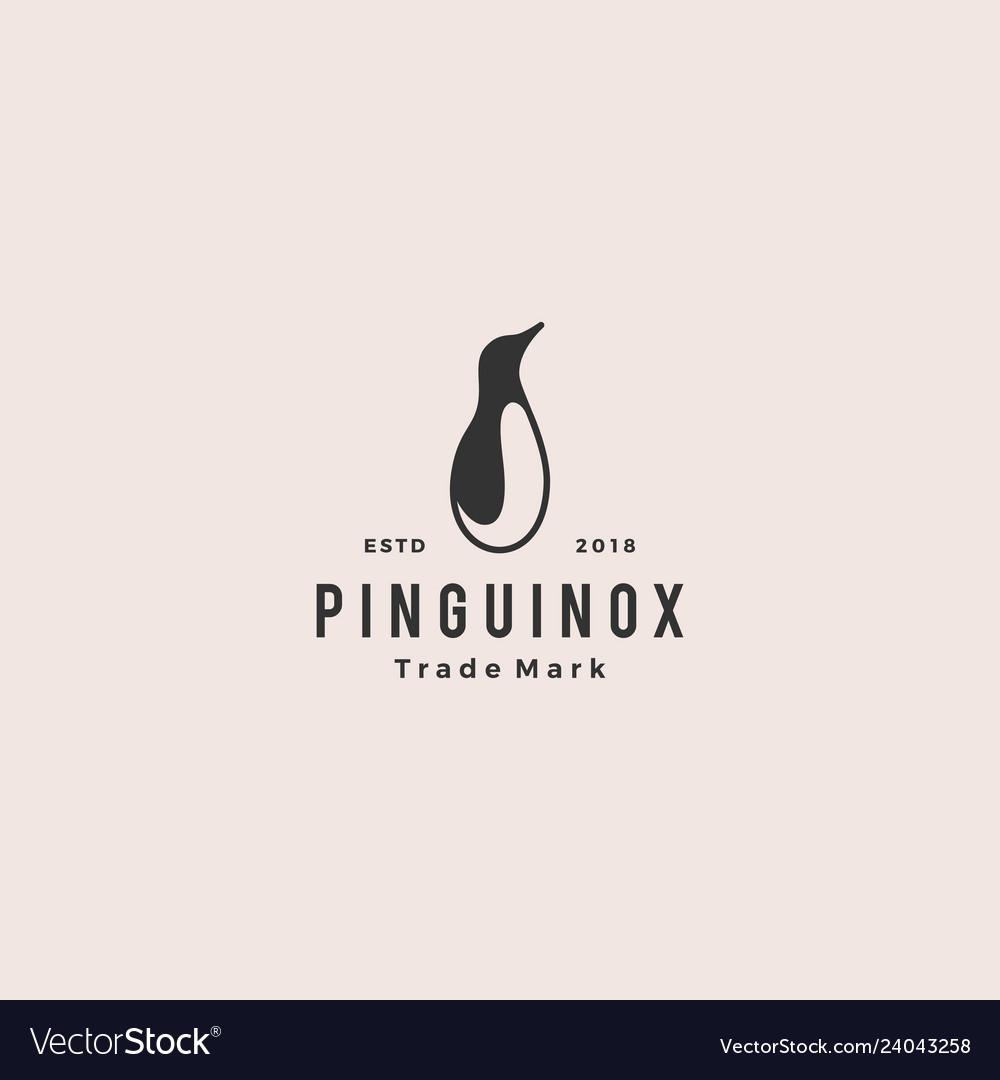 Penguin logo retro vintage hipster icon