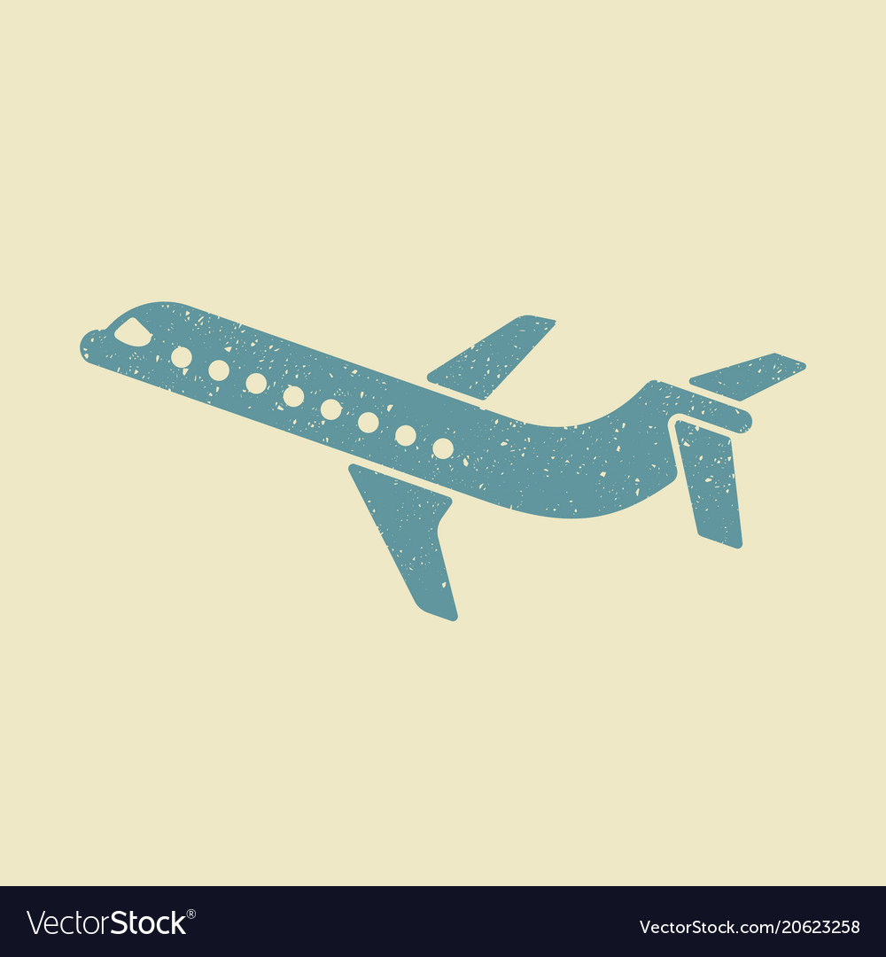 Plane icon in flat design style