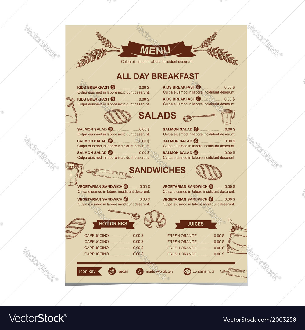 Restaurant menu Bakery and cafe