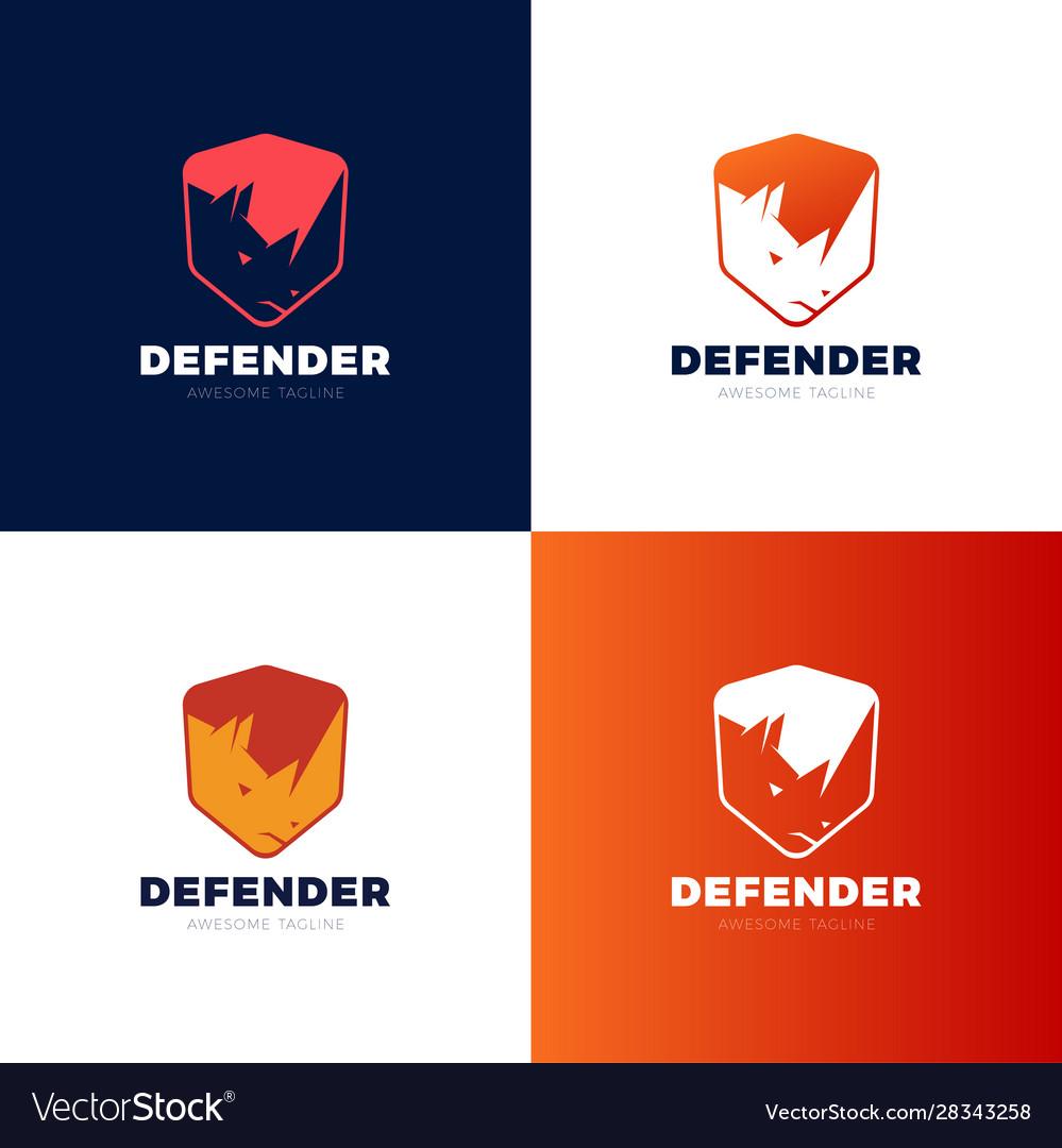 Rhino shield security logo template icon