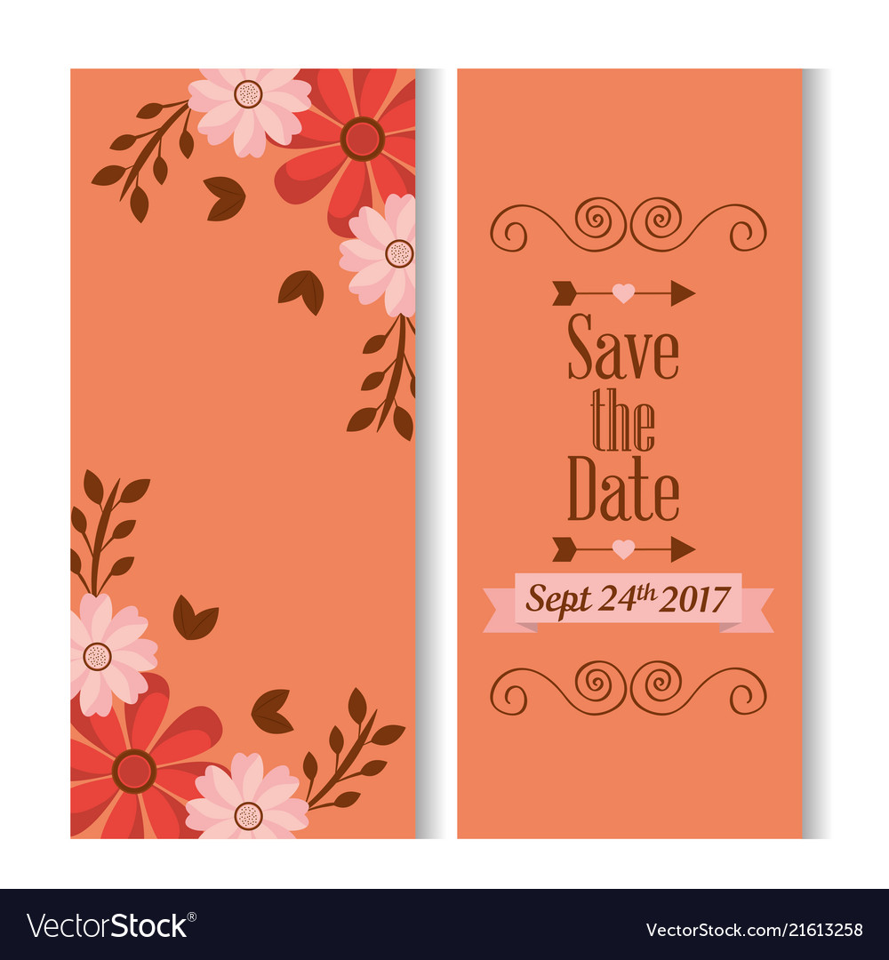 Save the date romantic banners flower floral love
