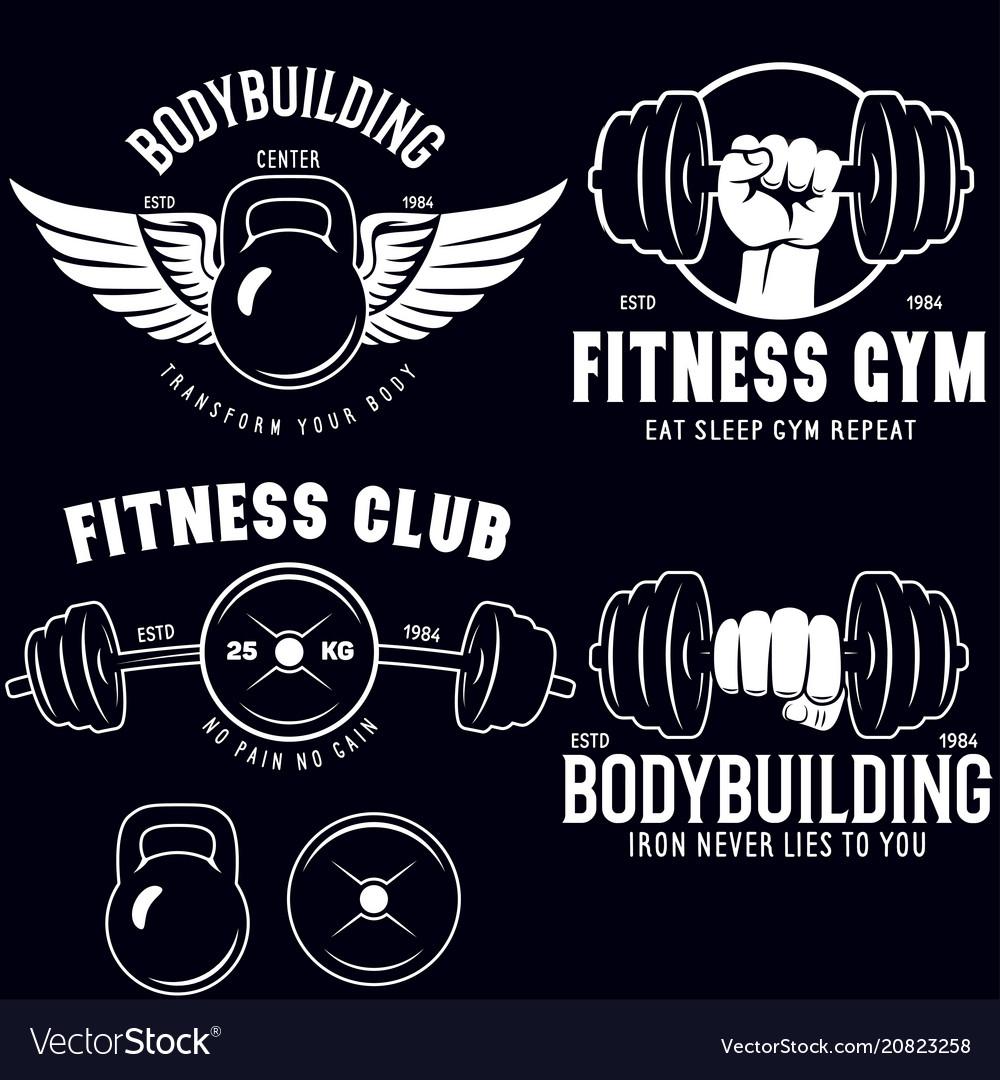 Set of monochrome fitness emblems labels badges