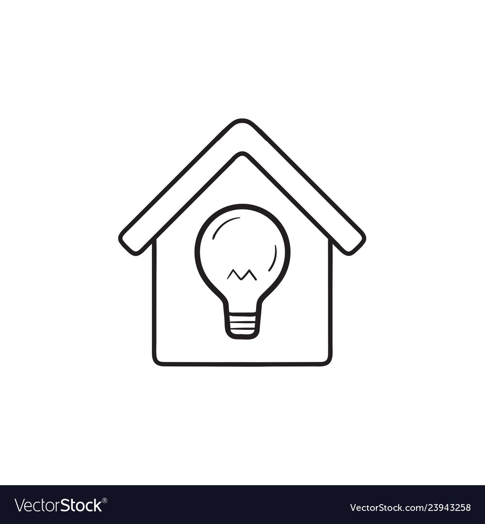 Smart home with light bulb hand drawn outline