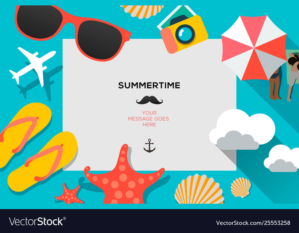 Summertime traveling template with beach summer