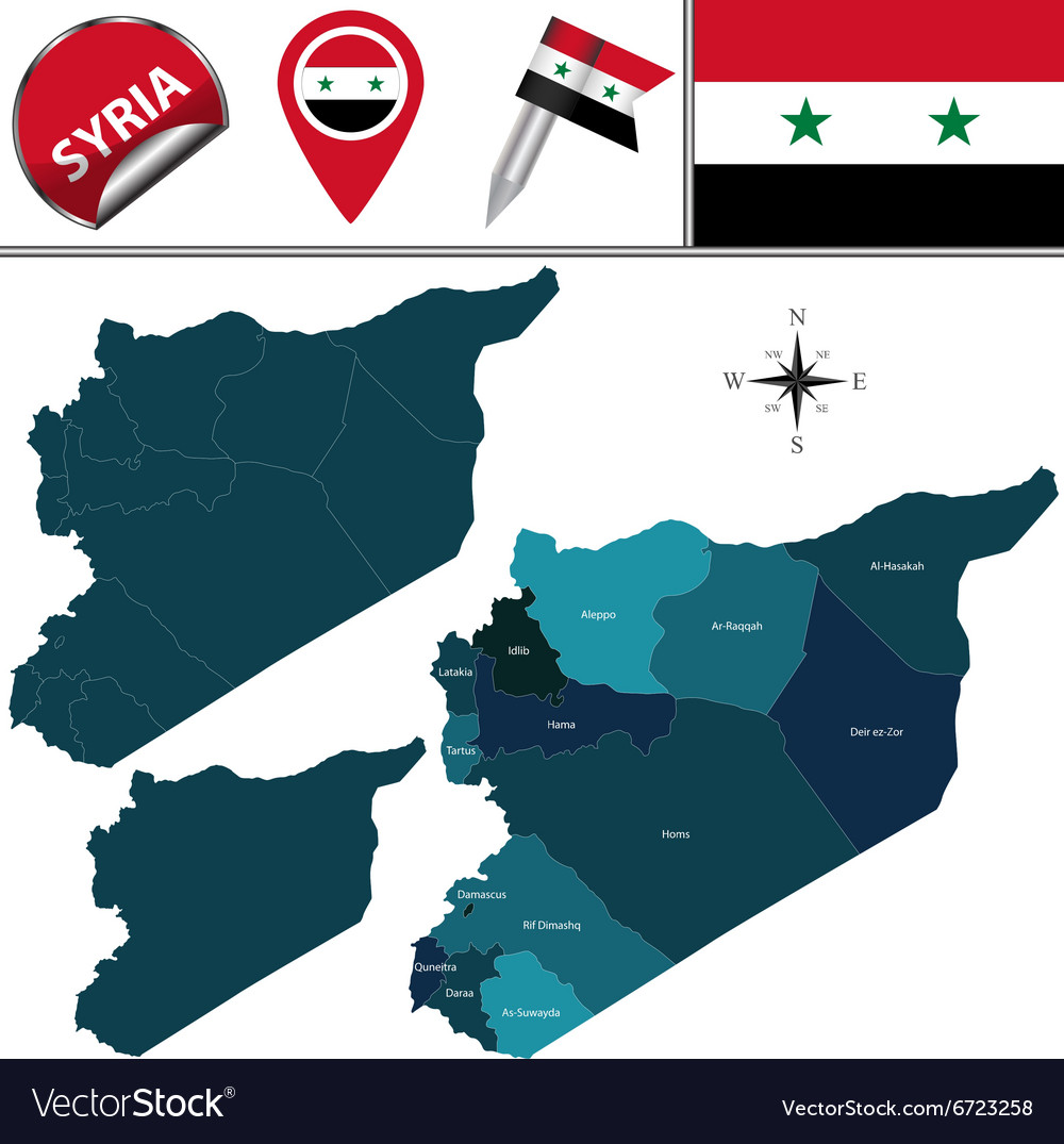 Syria map with named divisions vector image