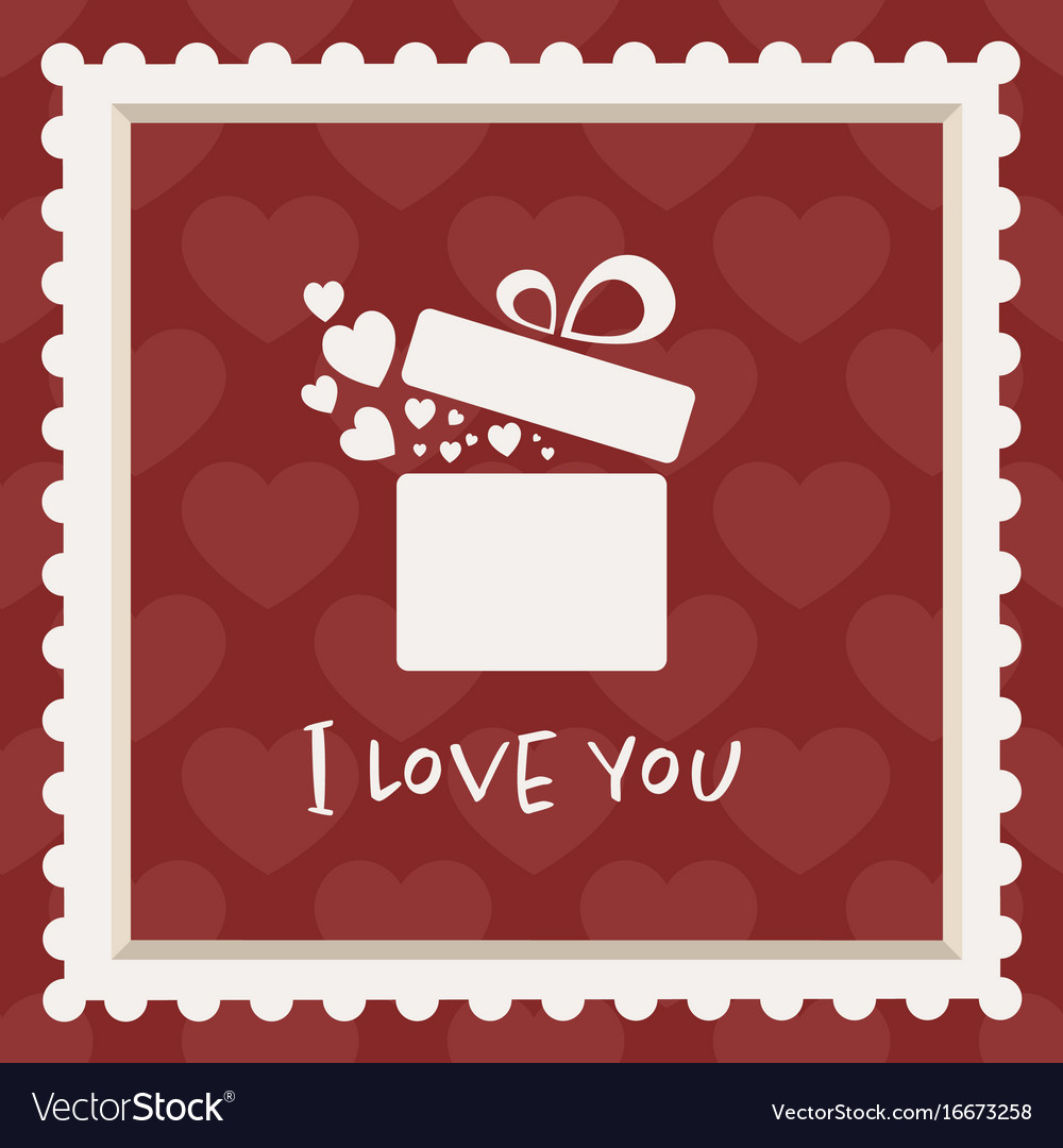 Valentines card with a gift vector image