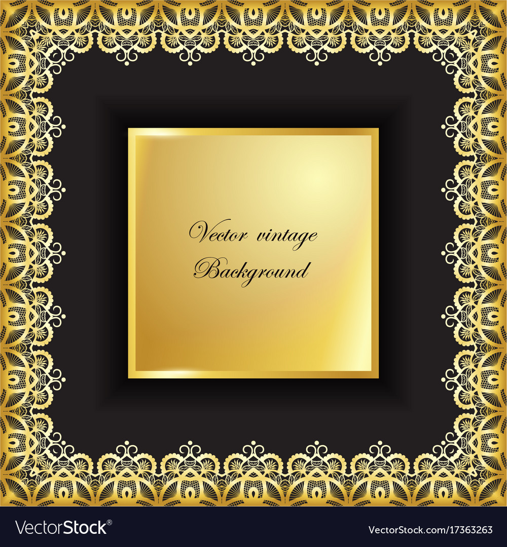 Abstract golden square lace frame with paper