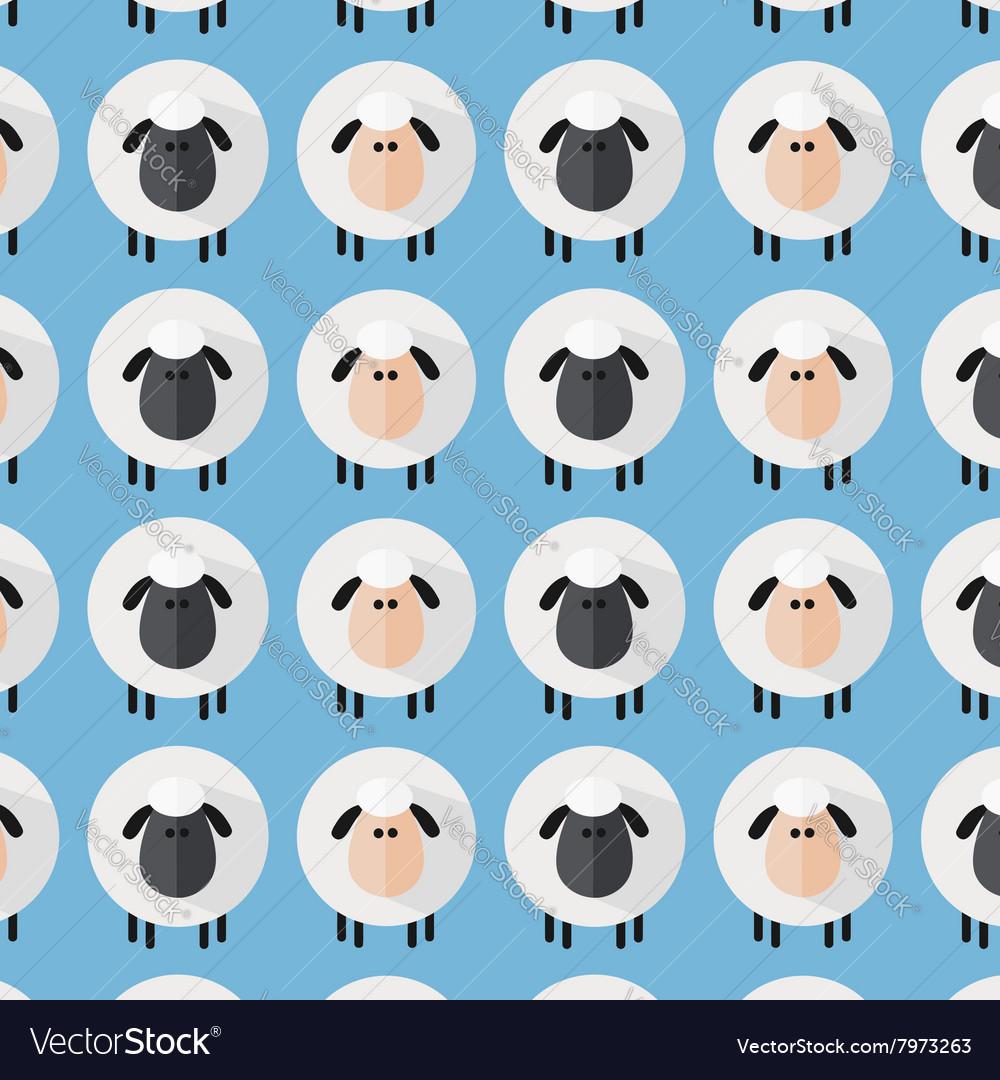 Cute Blue Sheep Wallpaper Vector Image