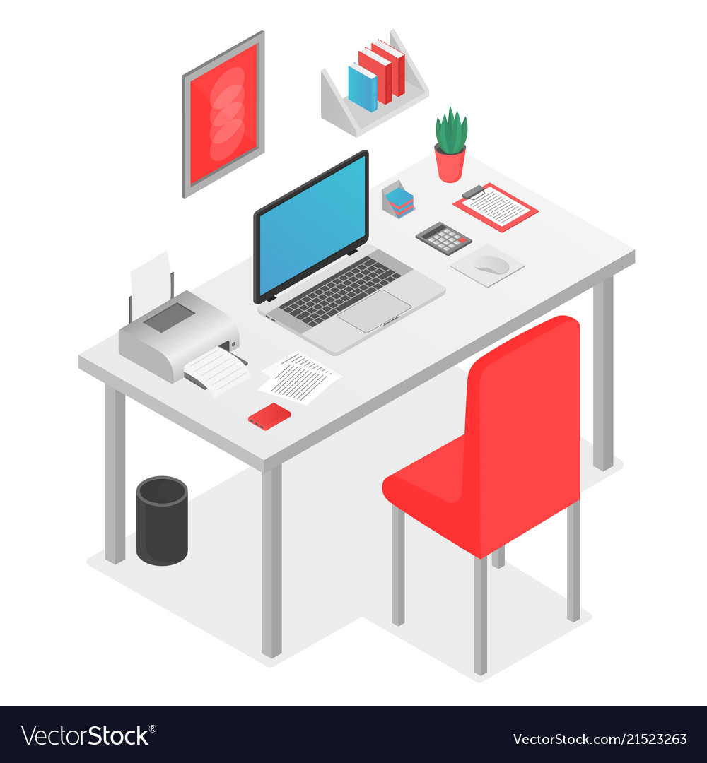 Flat 3d isometric workspace concept with laptop on
