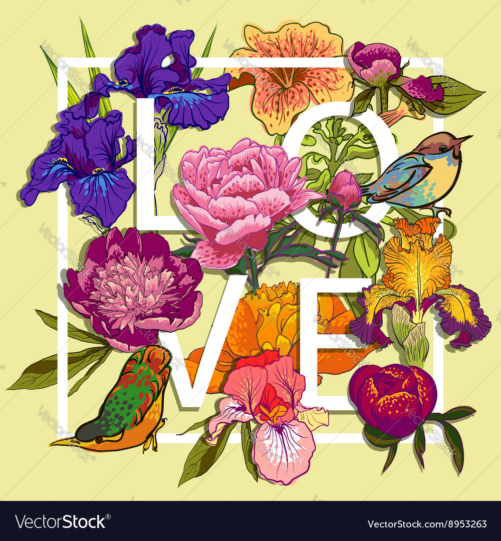 Floral and birds Love Graphic Design vector image