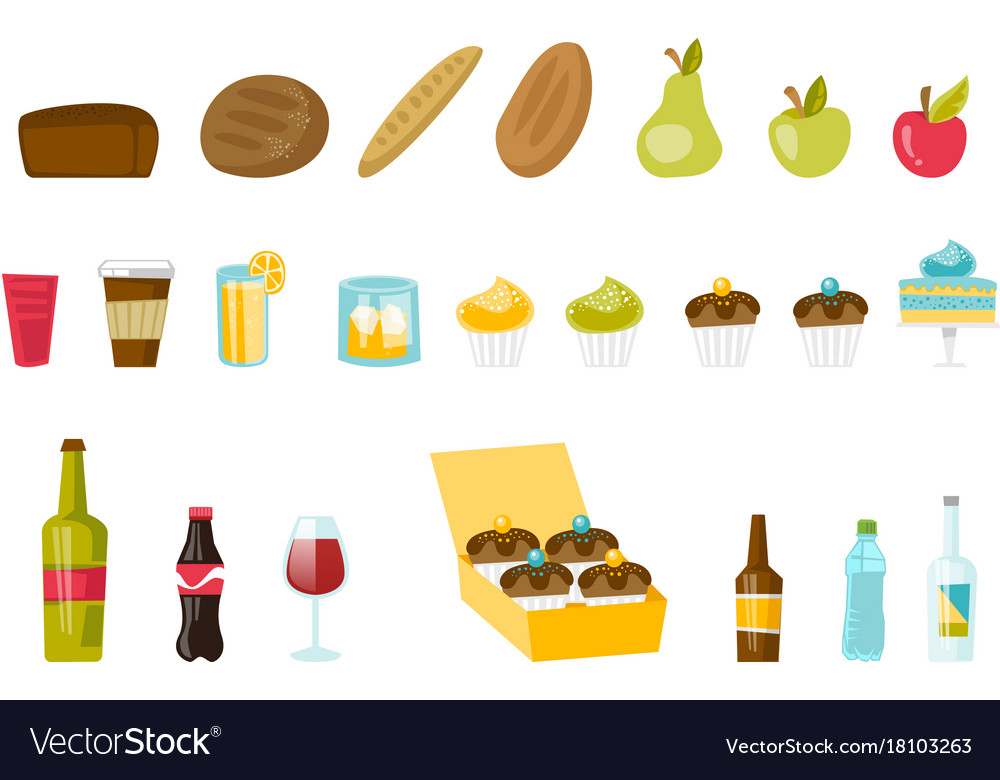 Food and drinks cartoon set