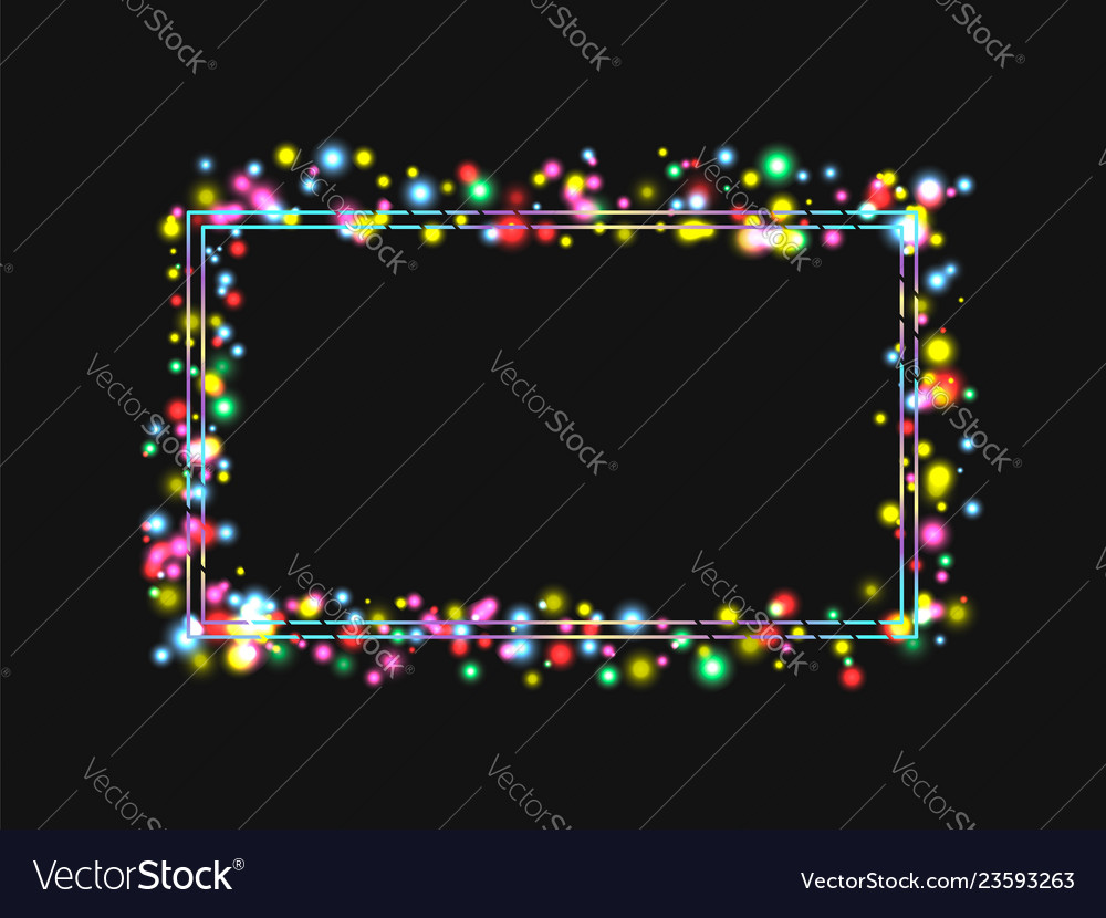 Frame in a frame of bright colored lights