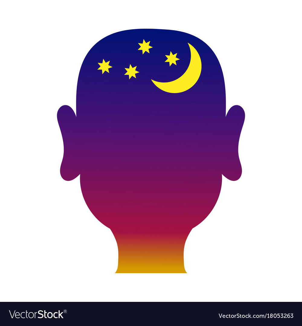 Mans head outline with night background
