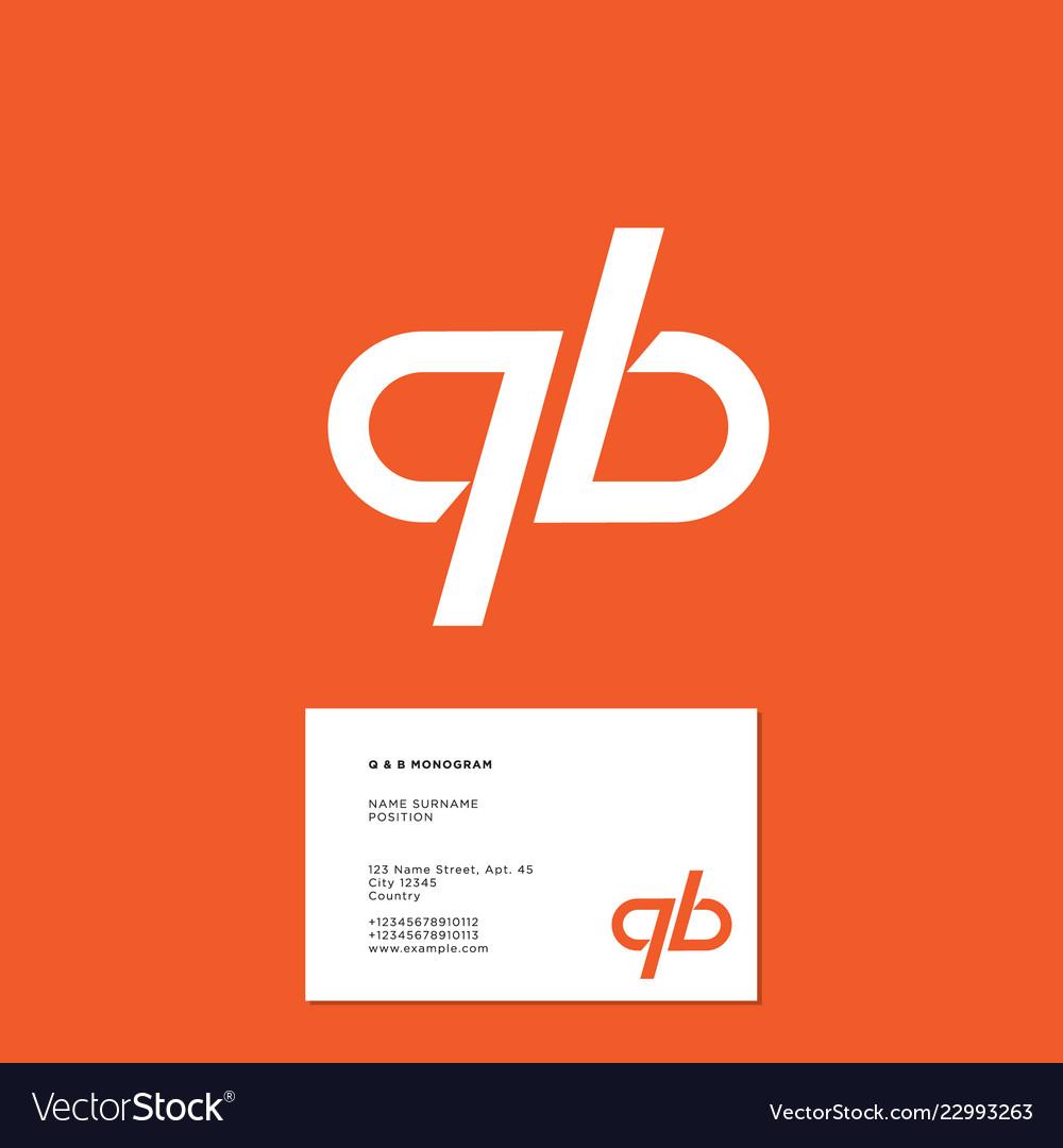 Q b monogram lines business card