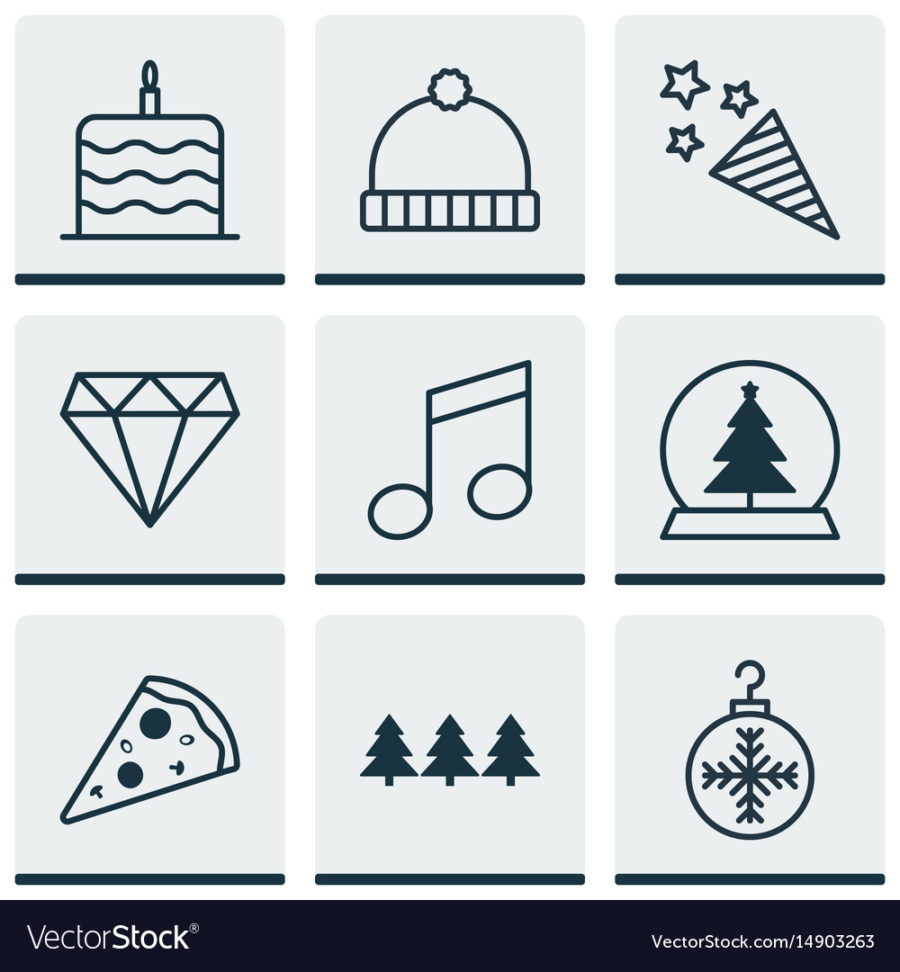 Set of 9 celebration icons includes tree toy vector image