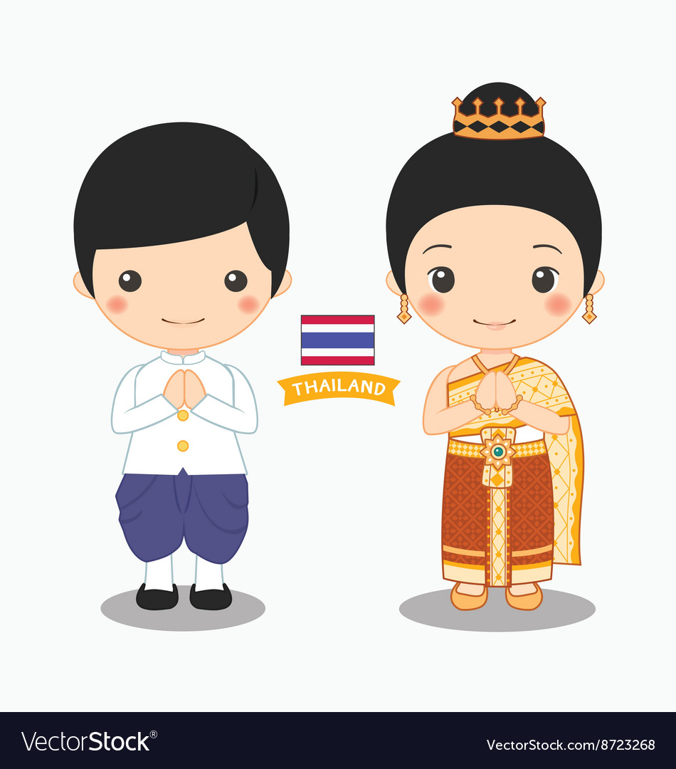 Boy and girl in thai costume Royalty Free Vector Image